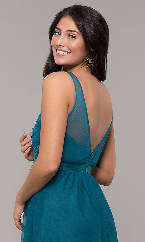 Image of long v-neck teal blue prom dress by Kalani Hilliker. Style: SJP-KH110 Detail Image 2