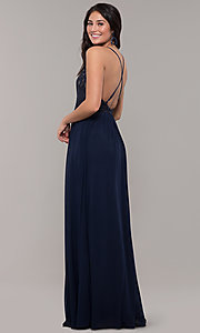 Image of navy blue long prom dress by Kalani Hilliker. Style: SJP-KH111 Back Image
