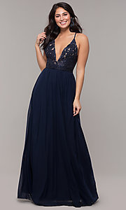 Image of navy blue long prom dress by Kalani Hilliker. Style: SJP-KH111 Detail Image 4