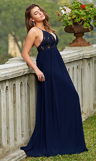 Navy Blue V-Neck Long Prom Dress by Kalani Hilliker