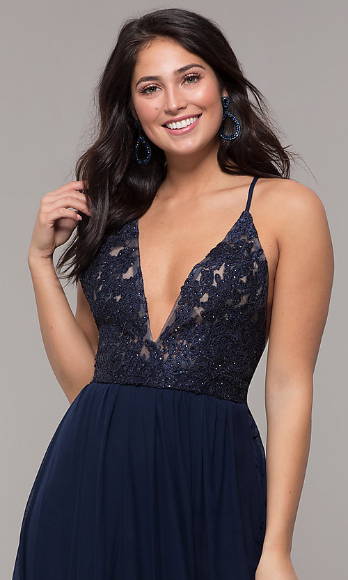 Image of navy blue long prom dress by Kalani Hilliker. Style: SJP-KH111 Detail Image 2
