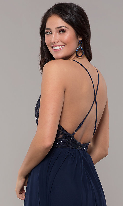 Image of navy blue long prom dress by Kalani Hilliker. Style: SJP-KH111 Detail Image 3