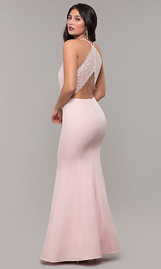 Long Lace-Racerback Prom Dress by Kalani Hilliker