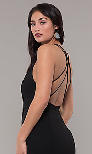 Image of deep-v-neck long black prom dress by Kalani Hilliker. Style: SJP-KH114 Detail Image 3
