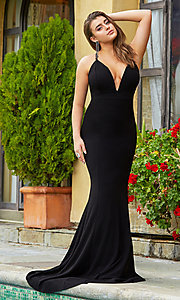 Image of deep-v-neck long black prom dress by Kalani Hilliker. Style: SJP-KH114 Front Image