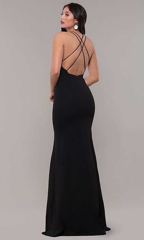 Image of deep-v-neck long black prom dress by Kalani Hilliker. Style: SJP-KH114 Back Image