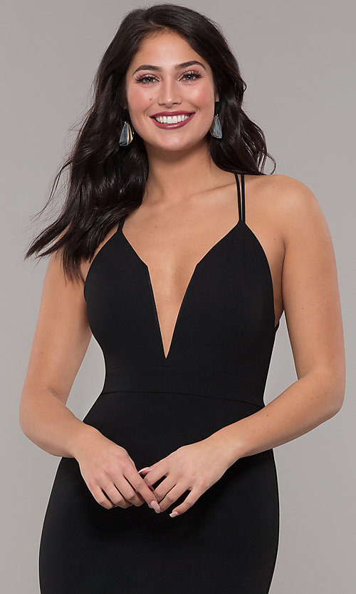 Image of deep-v-neck long black prom dress by Kalani Hilliker. Style: SJP-KH114 Detail Image 2