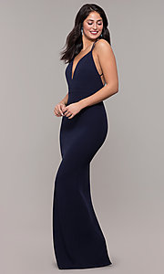 Image of long navy blue v-neck prom dress by Kalani Hilliker. Style: SJP-KH119 Back Image
