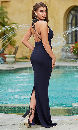 Long Navy Blue V-Neck Prom Dress by Kalani Hilliker