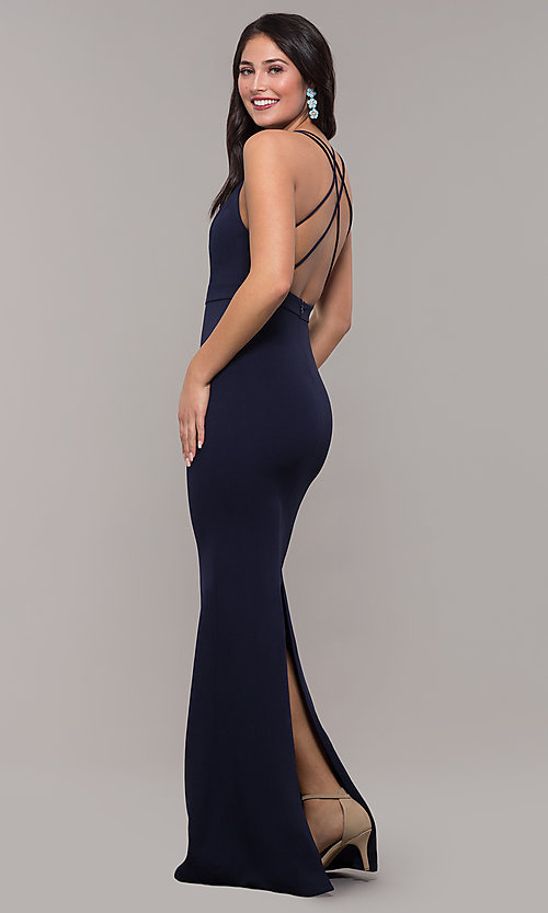 Image of long navy blue v-neck prom dress by Kalani Hilliker. Style: SJP-KH119 Front Image