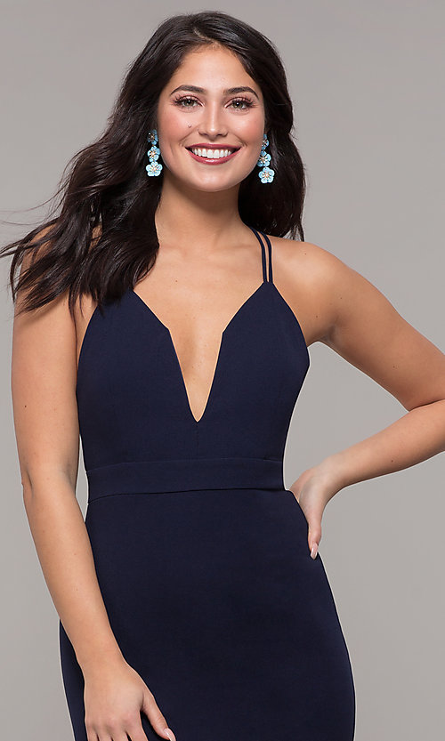 Image of long navy blue v-neck prom dress by Kalani Hilliker. Style: SJP-KH119 Detail Image 1