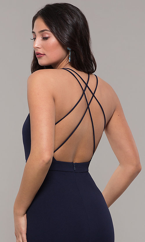 Image of long navy blue v-neck prom dress by Kalani Hilliker. Style: SJP-KH119 Detail Image 4
