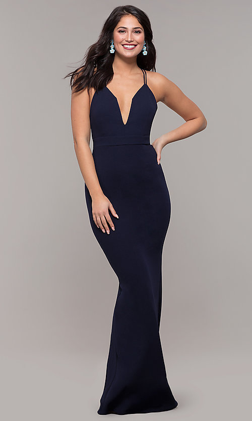 Image of long navy blue v-neck prom dress by Kalani Hilliker. Style: SJP-KH119 Detail Image 3