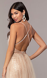 Image of champagne rose gold prom dress by Kalani Hilliker. Style: SJP-KH123 Detail Image 3