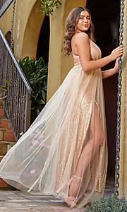 Image of champagne rose gold prom dress by Kalani Hilliker. Style: SJP-KH123 Front Image