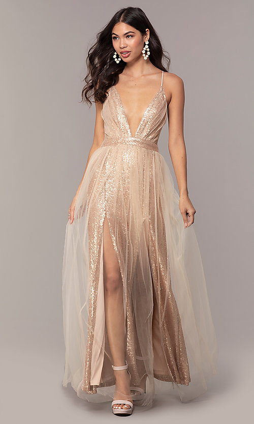 Image of champagne rose gold prom dress by Kalani Hilliker. Style: SJP-KH123 Detail Image 1