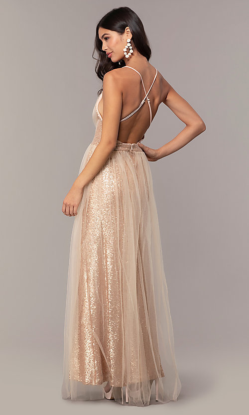 Image of champagne rose gold prom dress by Kalani Hilliker. Style: SJP-KH123 Back Image