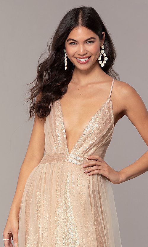 Image of champagne rose gold prom dress by Kalani Hilliker. Style: SJP-KH123 Detail Image 2