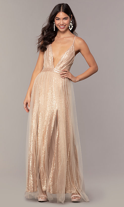 Image of champagne rose gold prom dress by Kalani Hilliker. Style: SJP-KH123 Detail Image 4