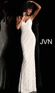 Image of long beaded-lace JVN by Jovani formal prom dress. Style: JO-JVN-JVN62488 Front Image