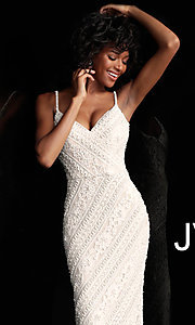 Image of long beaded-lace JVN by Jovani formal prom dress. Style: JO-JVN-JVN62488 Detail Image 1