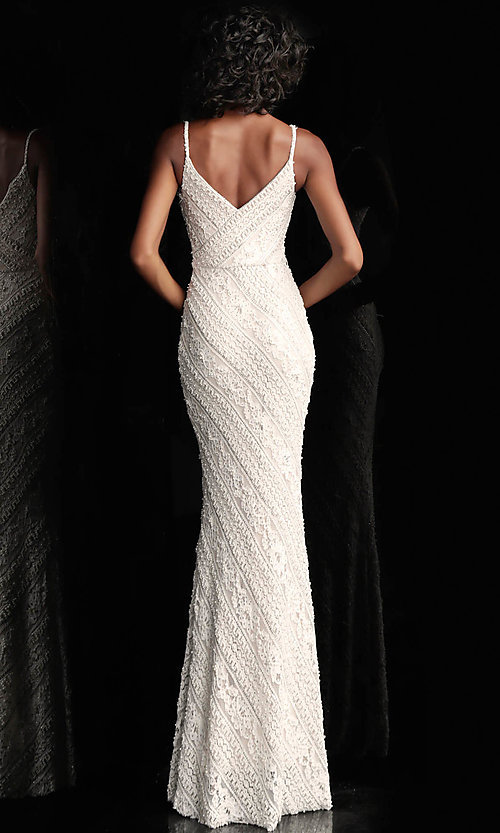Image of long beaded-lace JVN by Jovani formal prom dress. Style: JO-JVN-JVN62488 Back Image