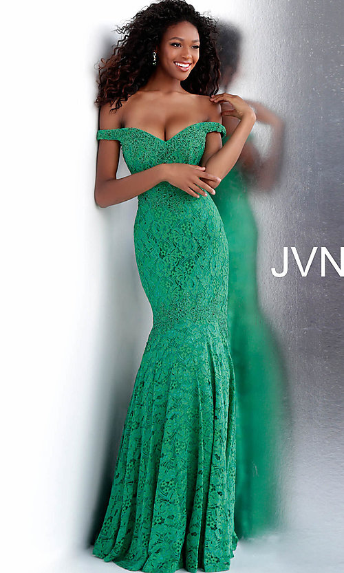 a5d151a7ef Long Lace Mermaid Prom Dress from JVN by Jovani