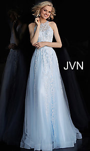 Image of long a-line embroidered designer prom dress. Style: JO-JVN-JVN64157 Detail Image 2