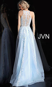 Image of long a-line embroidered designer prom dress. Style: JO-JVN-JVN64157 Detail Image 3
