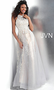 Image of long a-line embroidered designer prom dress. Style: JO-JVN-JVN64157 Front Image