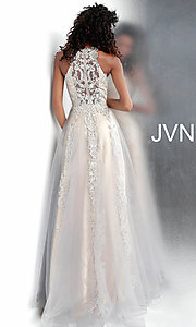 Image of long a-line embroidered designer prom dress. Style: JO-JVN-JVN64157 Back Image