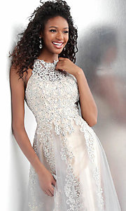 Image of long a-line embroidered designer prom dress. Style: JO-JVN-JVN64157 Detail Image 1