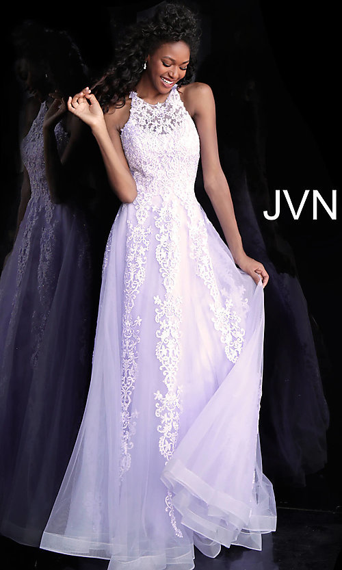 Image of long a-line embroidered designer prom dress. Style: JO-JVN-JVN64157 Detail Image 4