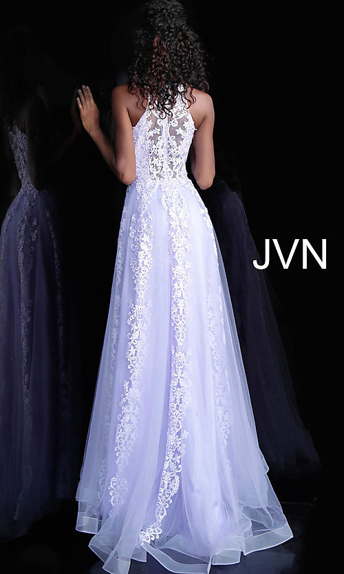 Image of long a-line embroidered designer prom dress. Style: JO-JVN-JVN64157 Detail Image 5