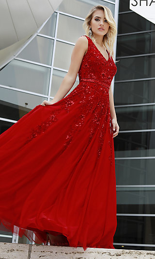 Long Shail K Sparkly Prom Dress with Beading