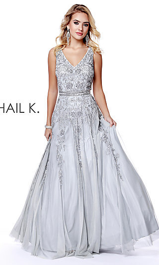 Silver Evening Gowns And Sequin Prom Dresses Promgirl