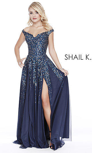 dc088290ed7 Long Off-the-Shoulder Designer Prom Dress