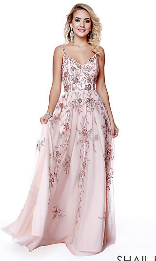 Long Shail K V-Neck Designer Prom Dress