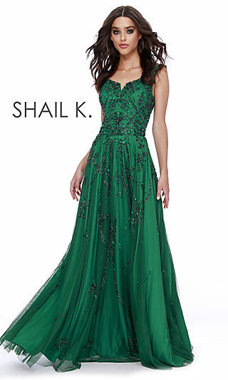 Long Green Scoop-Neck Designer Prom Dress by Shail K