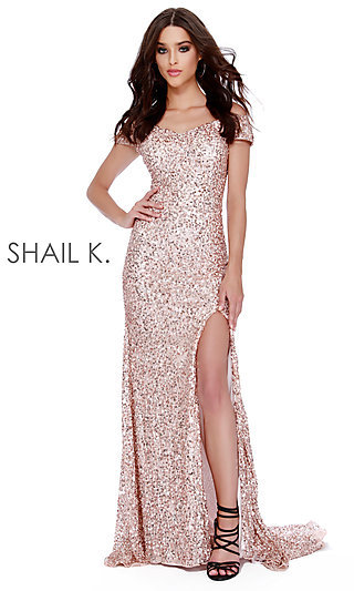 Long Sequin Off-the-Shoulder Designer Prom Dress