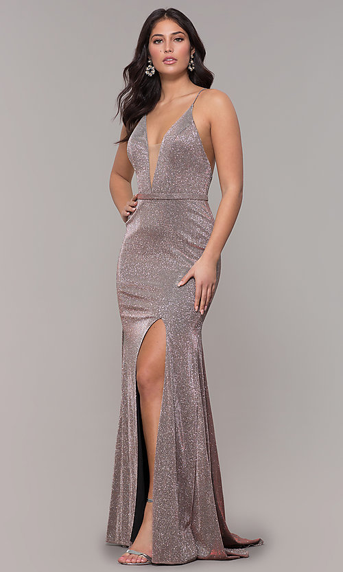 a42beda21382 Long Glitter Jersey V-Neck Prom Dress