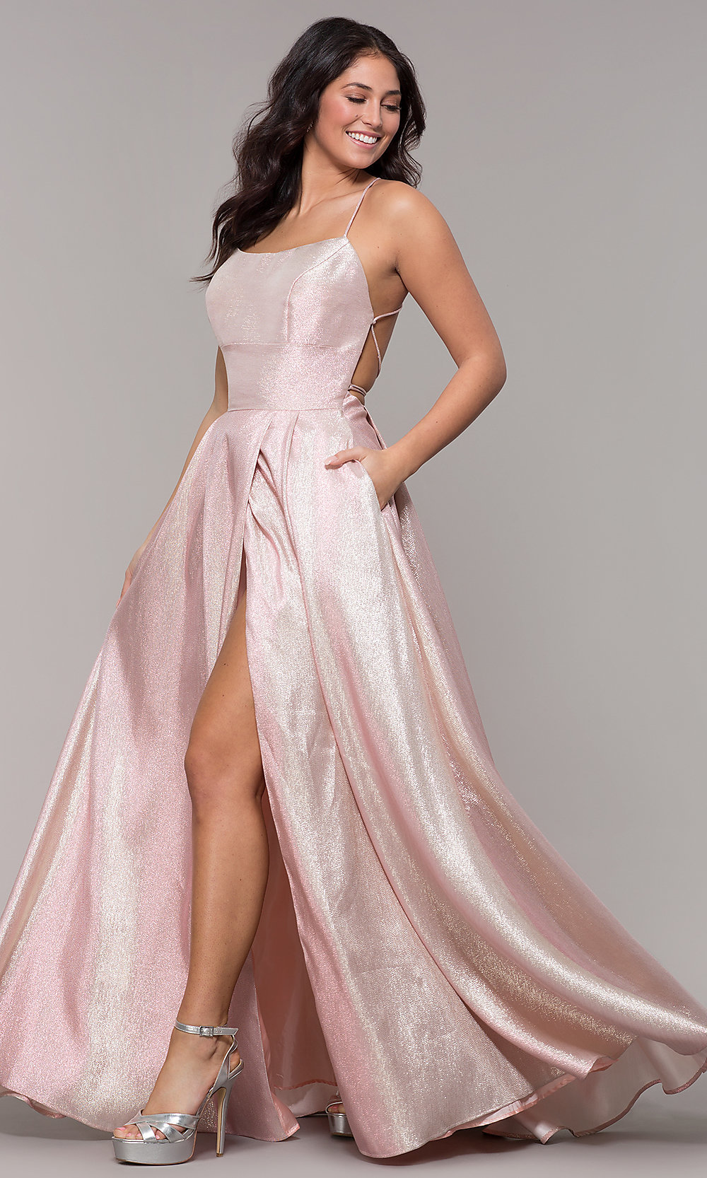 fdf385a19e Long Faux-Wrap Metallic Satin Prom Dress