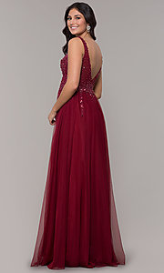 Image of long tulle v-neck prom dress in burgundy red. Style: NA-G272 Back Image