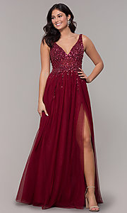 Image of long tulle v-neck prom dress in burgundy red. Style: NA-G272 Detail Image 3