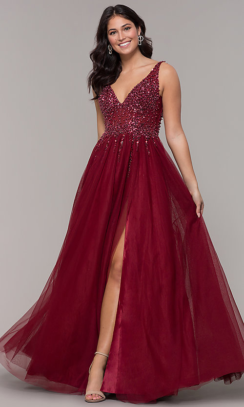 Image of long tulle v-neck prom dress in burgundy red. Style: NA-G272 Front Image