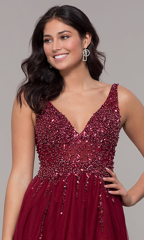 Image of long tulle v-neck prom dress in burgundy red. Style: NA-G272 Detail Image 1