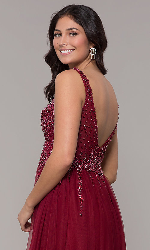 Image of long tulle v-neck prom dress in burgundy red. Style: NA-G272 Detail Image 2
