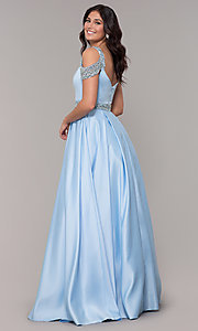 Image of cold-shoulder sweetheart long a-line prom dress. Style: NA-R224 Back Image