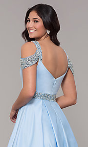 Image of cold-shoulder sweetheart long a-line prom dress. Style: NA-R224 Detail Image 2