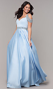 Image of cold-shoulder sweetheart long a-line prom dress. Style: NA-R224 Detail Image 3